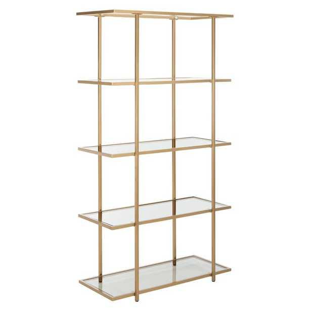 Francis 5-Tier Etagere Bookcase Color (Body/Shelves): Gold/Clear - Perigold