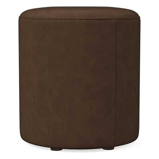 Isla Small Ottoman, Poly, Vegan Leather, Molasses, Concealed Supports - West Elm