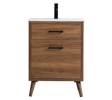 "Franca Single Sink Vanity Cabinet, 1 Drawer, Walnut Brown, 24"" - Pottery Barn"