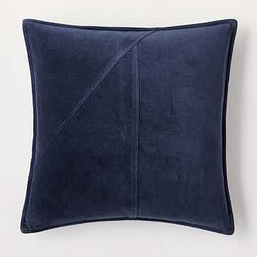 """Washed Cotton Velvet Pillow Cover, 18""""x18"""", Midnight - West Elm"""