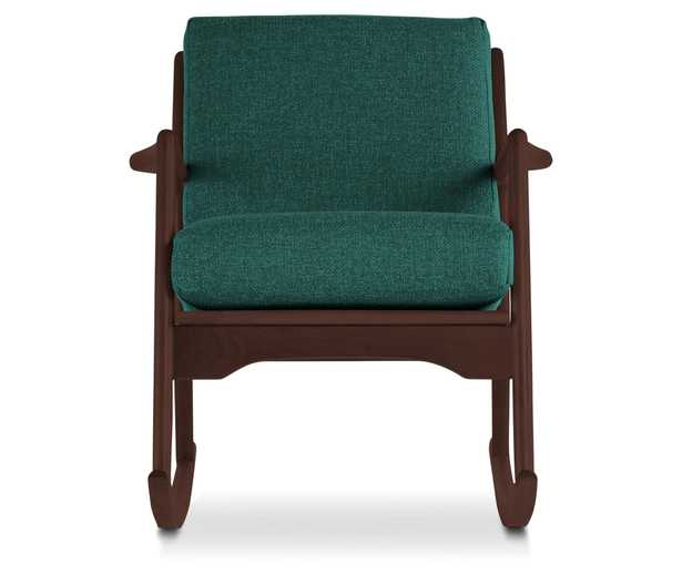 Blue Collins Mid Century Modern Rocking Chair - Prime Peacock - Walnut - Joybird