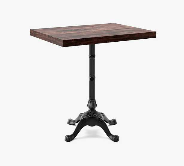"""24""""x32"""" Rectangle Pedestal Dining Table, Rustic Mahogany Wood Top, Small Bistro Base - Pottery Barn"""