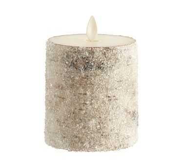 "Premium Flicker Flameless Wax Candle, Sugared Birch, 3x3"" - Pottery Barn"
