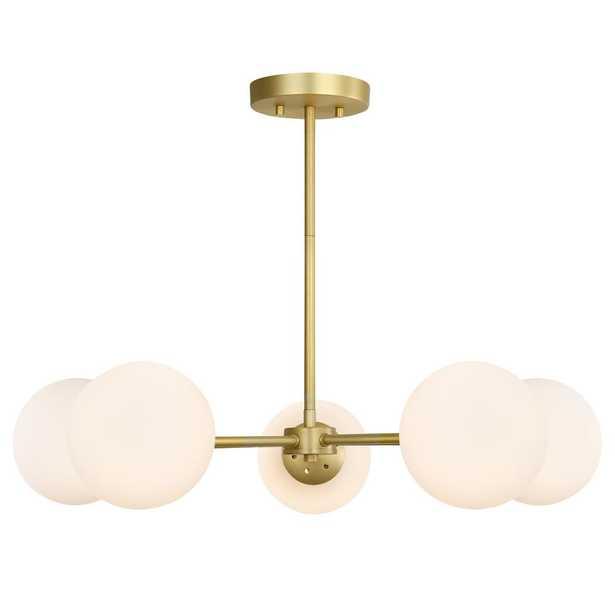 Light Society Grammercy 5-Light Brass/White in Chandelier - Home Depot