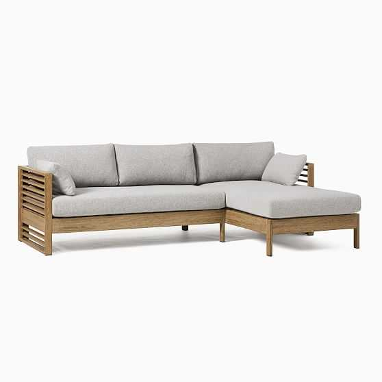 Santa Fe Slatted 2 Pc Sectional Set 1: Left Arm Sofa + Right Arm Chaise, Driftwood/Gray - West Elm