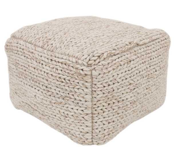 "Sweater Knit Pouf, 17 x 17 x 18"", Ivory - Pottery Barn"