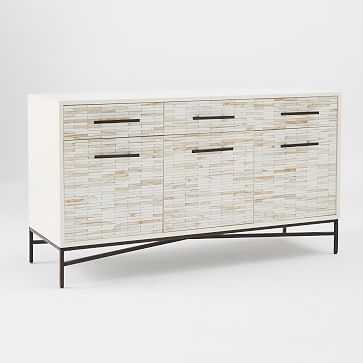 Tiled Buffet/Media Console, White + White Wash - West Elm