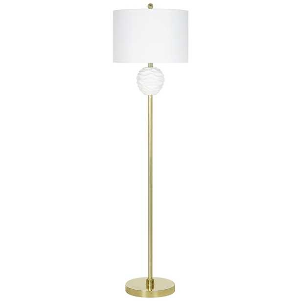 White Ruffle Textured and Brass Metal LED Floor Lamp - Style # 82H99 - Lamps Plus