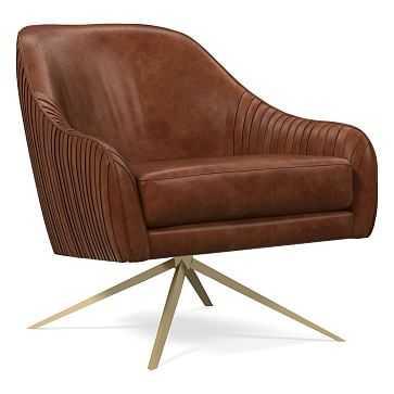 Roar & Rabbit Swivel Leather Chair, Poly, Weston Leather, Molasses, Antique Brass - West Elm
