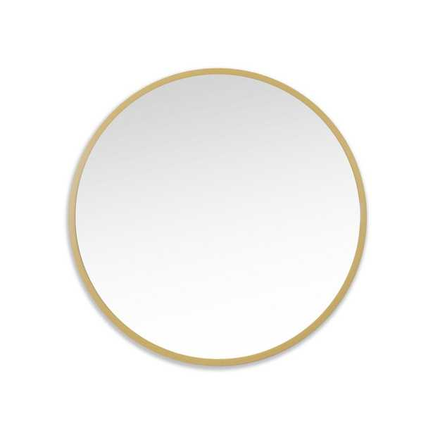 Better Bevel 36 in. x 36 in. Rubber Framed Round Mirror in Matte Gold - Home Depot