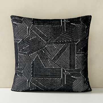 "Linear Cut Velvet Pillow Cover, 20""x20"", Black - West Elm"