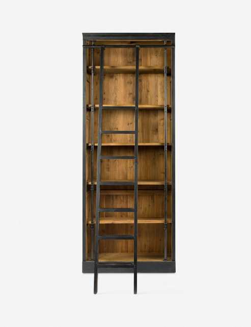 Mallory Bookcase with Ladder, Black - Lulu and Georgia