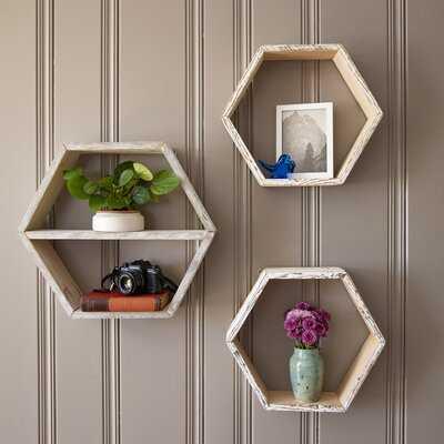 Wehr 3 Piece Hexagon Pine Solid Wood Accent Shelf with Reclaimed Wood - Wayfair