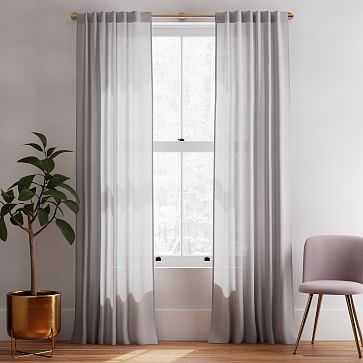 "Sheer European Flax Linen Curtain, Stone Gray, 48""x96"" - West Elm"