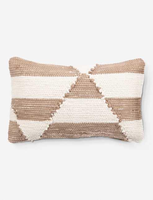 """Ella Lumbar Pillow by Nikki Chu, Almond and Cream 16"""" x 24"""" Down - Lulu and Georgia"""