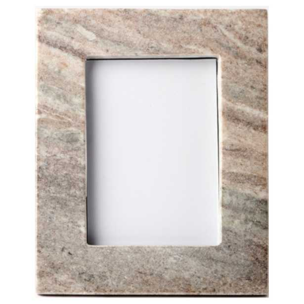 Bea Modern Classic Brown Marble Photo Frame - 4x6 - Kathy Kuo Home
