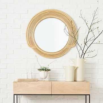 """Desert Sun Mirror, Round, Natural, Cane, 30"""" - West Elm"""