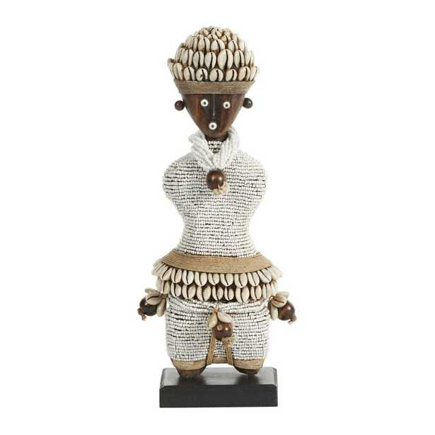 Cole & Grey Small Hand-Crafted Pine Wood, Cowrie Shells, White Beads & Kente Cloth African Woman Namji Doll - Perigold