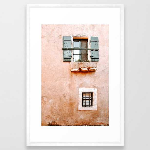 Orange House With Green Windows In Greece, Greek Travel Photography Framed Art Print by Printsproject - Vector White - LARGE (Gallery)-26x38 - Society6