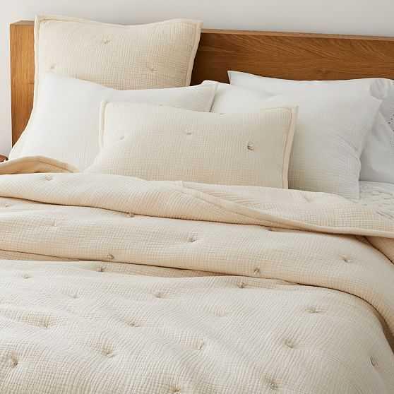 Dreamy Gauze Cotton Quilt, King, Ivory - West Elm