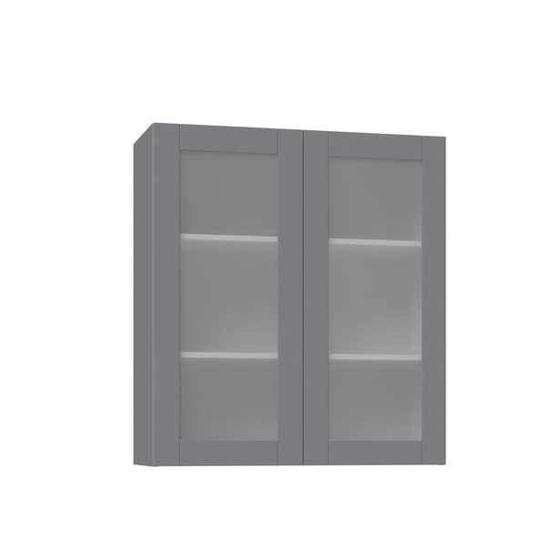 J COLLECTION Shaker Assembled 36x40x14 in. Wall Cabinet with Frosted Glass Doors in Gray - Home Depot
