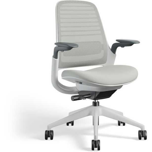 Steelcase Series 1 Ergonomic Mesh Task Chair Frame Color: Seagull, Upholstery Color: Nickel - Perigold