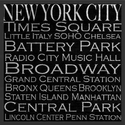 New York City Typography Landmarks - Picture Frame Textual Art Print on Paper - Wayfair