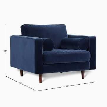 Dennes Chair Navy Velvet Walnut - West Elm