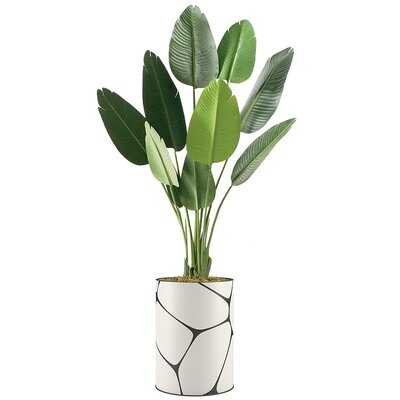 """Primrue Floor Plants Artificial Trees For Home, Fake Bird Of Paradise Plant With Vase - Large Size 72"""" Overall - Wayfair"""