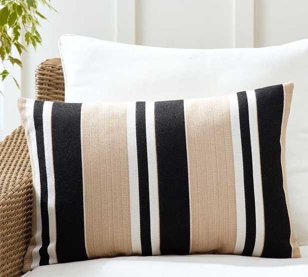 "Sunbrella(R) Ziva Striped Indoor/Outdoor Lumbar Pillow, 16 x 24"", Black Multi - Pottery Barn"