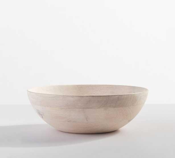 "Chateau Acacia Wood Salad Bowl, Small 11"" - White Washed - Pottery Barn"