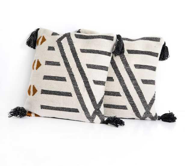 """Seri Indoor/Outdoor Pillow - Set of 2, 20 x 20"""", Cream/Black - Pottery Barn"""
