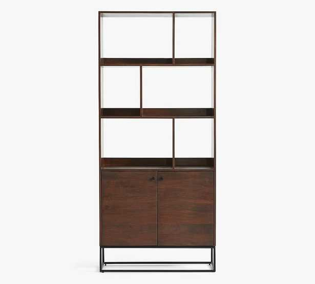 Bradley Wood Bookcase with Doors, Dark Umber - Pottery Barn