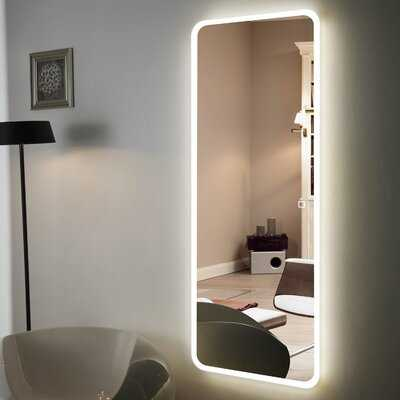 """Hans & Alice Large Full Length Floor Mirror, Free Standing LED Mirror With Light For Bedroom (65""""X22"""") in , 65"""" H x 22"""" W - Wayfair"""