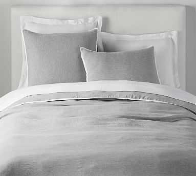 Belgian Flax Linen Contrast Duvet Cover, King,/Cal King, Flagstone/White - Pottery Barn