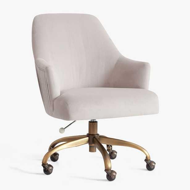 Velvet Pleated Swivel Desk Chair, Velvet Gray w/ Antique Brass Base - Pottery Barn Teen
