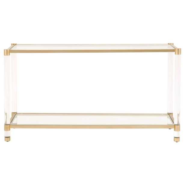 Rowan Modern Classic Glass Gold Metal Rectangular Console Table - Kathy Kuo Home