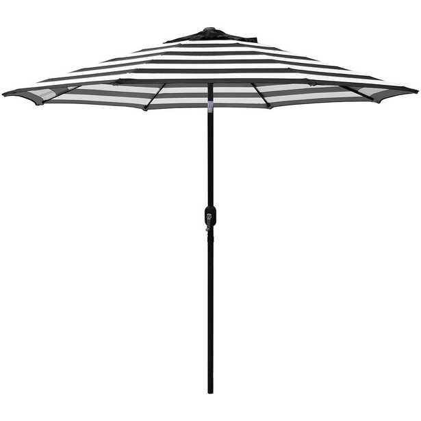Maypex 9 ft. Steel Crank and Tilt Stripe Market Patio Umbrella in Black and White - Home Depot