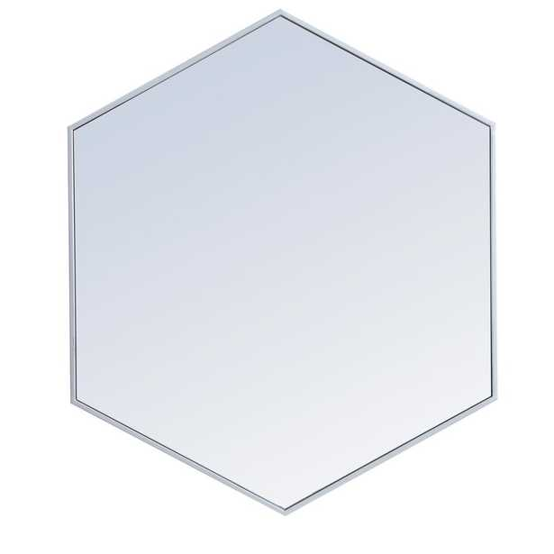 "Elegant Furniture Timeless Home 32""H X 38""W Modern Hexagon Metal Framed Wall Mirror in silver - Home Depot"