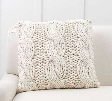 """Colossal Handknit Pillow Cover, 24"""", Ivory - Pottery Barn"""