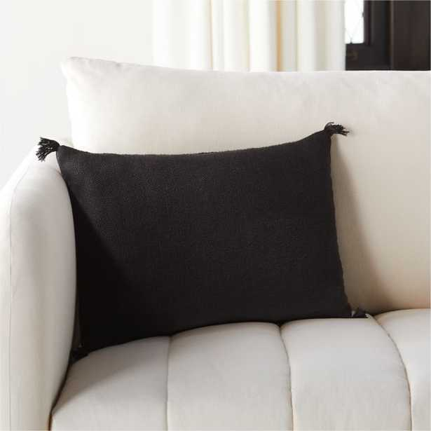 """18""""x12"""" Plait Black Pillow with Feather-Down Insert - CB2"""