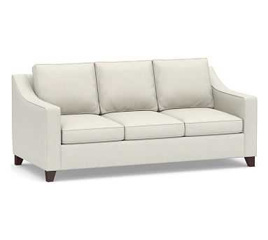 """Cameron Slope Arm Upholstered Deep Seat Sofa 3-Seater 85"""", Polyester Wrapped Cushions, Performance Boucle Oatmeal - Pottery Barn"""
