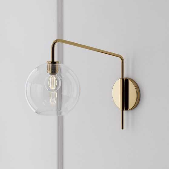 Sculptural Adjustable Sconce, Globe Small, Clear, Antique Brass - West Elm