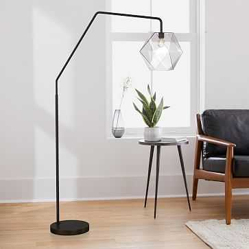 """Sculptural Overarching Floor Lamp, Faceted Small, Clear, Antique Bronze, 11.5"""" - West Elm"""