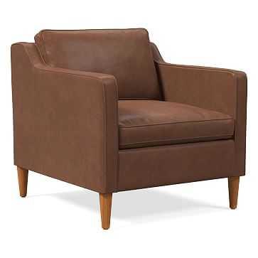 Hamilton Chair, Charme Leather, Cigar, Almond - West Elm