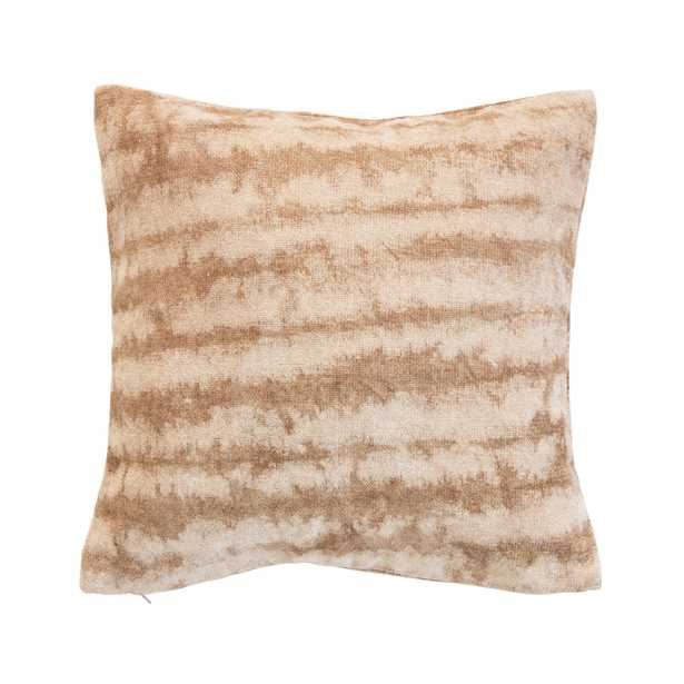 Cotton Blend Tie-Dyed Pillow, Brown & Beige - Moss & Wilder