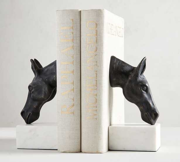 Bronze Horse & Marble Book Ends - Pottery Barn