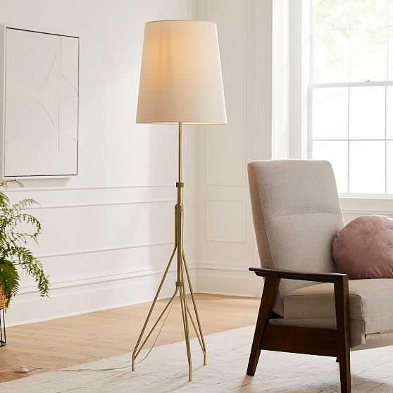 Eiffel Adjustable Floor Lamp, White Linen, Antique Brass - West Elm