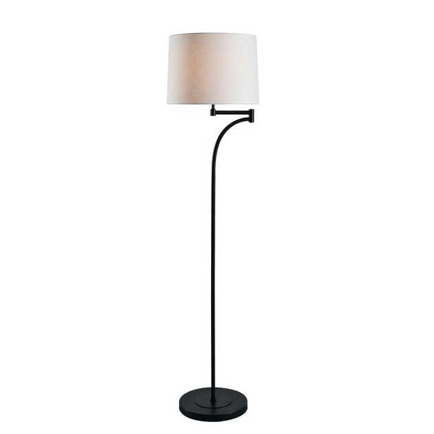 Kenroy Home Seven 59 in. Oil Rubbed Bronze Floor Lamp with White Tapered Shade - Home Depot