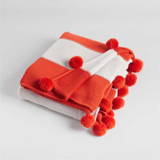 Red Knit Pom Pom Blanket - Crate and Barrel